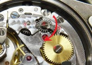 ロレックス オイスターパーペチュアルデイトジャスト 赤矢印の歯車は動く